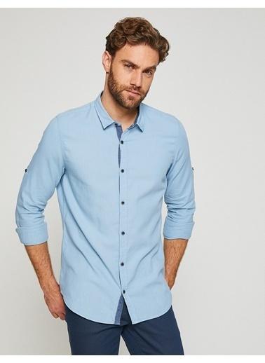 Koton Slim Fit Uzun Kollu Gömlek Mavi